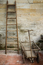 Old Wooden Ladder And Wooden W...