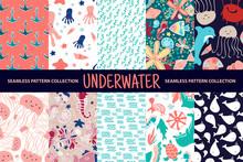 Set Of 10 Seamless Pattern. Underwater World. Sea Animals. Vector Illustration