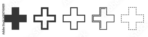 Stampa su Tela Set of Medical Cross vector icons isolated.