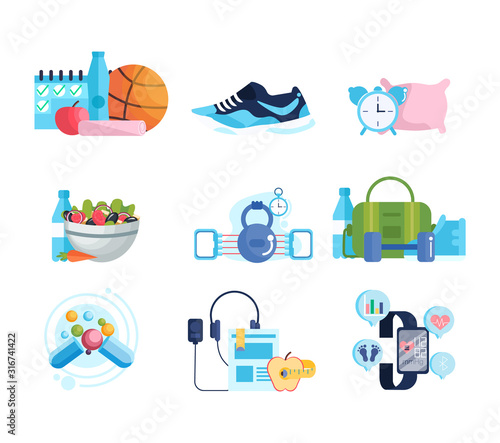 Sport and diet concept. Collection of healthy lifestyle items.