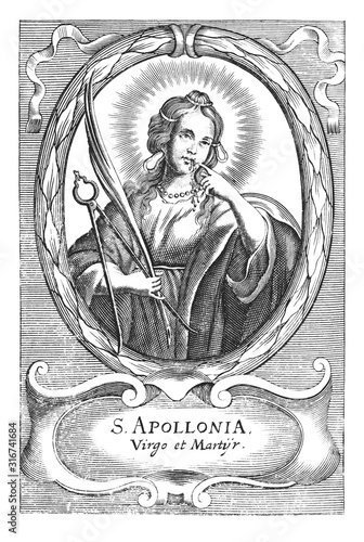 Fotografia, Obraz Antique vintage religious allegorical engraving or drawing of Christian holy woman saint Apollonia holding pliers and tooth
