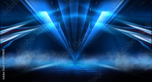 Fototapety, obrazy: Dark background with lines and spotlights, neon light, night view. Abstract blue background.