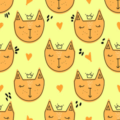Vector seamless pattern with hand drawing doodle cats on yellow background; funny design for fabric, wallpaper, textile, wrapping paper, web design.