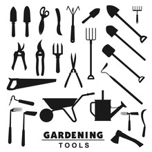 Garden And Farming Tools Silho...
