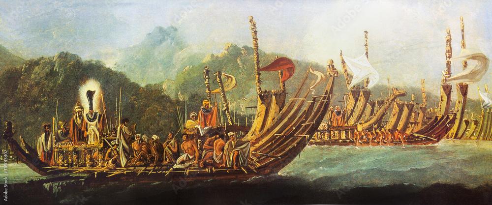 Fototapeta James Cook voyages. .Tahitians war pirogues, 1774