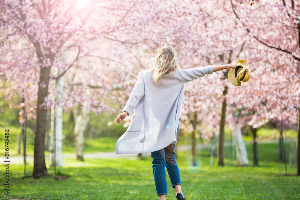 Fototapeta Young woman enjoying the nature in spring. Dancing, running and whirling in beautiful park with cherry trees in bloom. Happiness concept