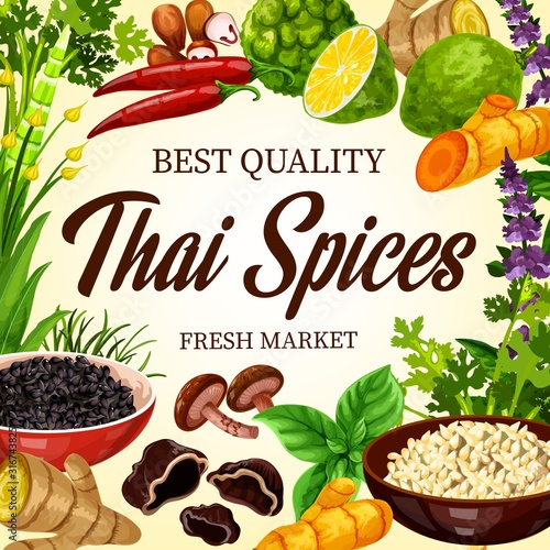 Thai cooking spices, herbs and Asian cuisine herbal seasonings, farm market poster Wallpaper Mural
