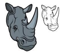 Rhino Animal Head Mascot, Two Horned Cartoon Black Rhinoceros. Angry African Savanna Mammal With Red Eyes, Isolated Rhino For Safari Tour, Hunting Sport Club Or Zoo Design
