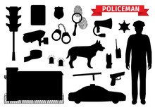 Policeman Equipment Tools, Sil...