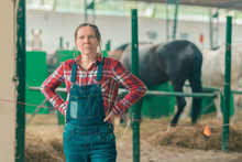 Portrait Of Female Rancher At ...