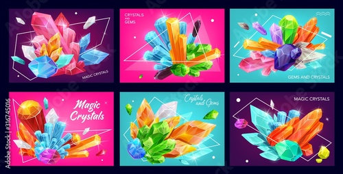 Valokuvatapetti Magic gemstones and crystals with polygons and abstract geometric shapes