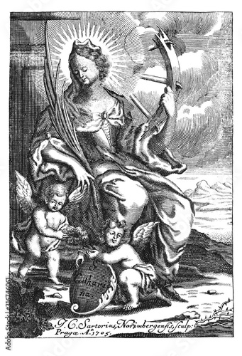 Fényképezés  Antique vintage religious allegorical engraving or drawing of Christian holy woman saint Catherine or Katharine of Alexandria with wheel
