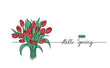 Tulips Bouquet Vector Sketch, ...