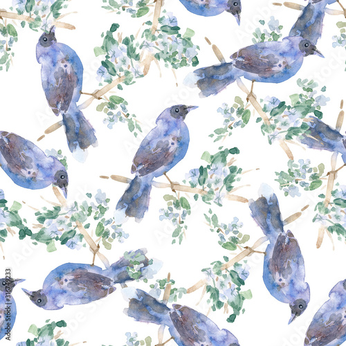 Photo Seamless pattern: hand-drawn watercolor bird on a branch