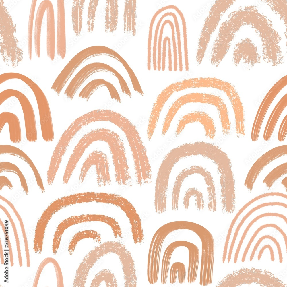 Modern hand drawn seamless pattern. Various rainbows in sand palette. Trendy illustration for printing on textiles, wrapping papers, posters, covers, notebooks.