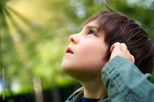 Fototapeta Caucasian little boy looking up at the sky in the forest with curious or careful expression obraz