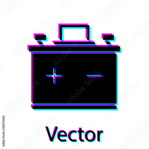 Photo Black Car battery icon isolated on white background