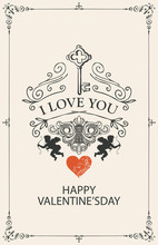 Romantic Valentine Card With W...