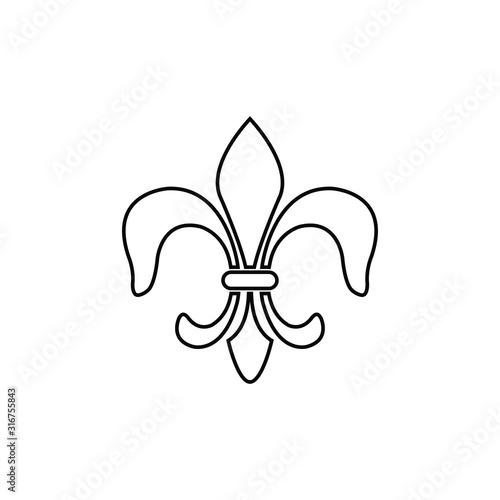 Fotografie, Obraz Fleur-de-lis icon vector Heraldic lily line style