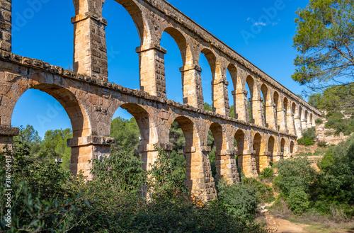 Ancient roman aqueduct Ponte del Diable or Devil's Bridge in Tarragona, Spain Canvas Print
