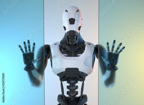 Robotstands behind of glass wall Wallpaper Mural