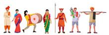 Maharashtra Traditional Dress People Vector