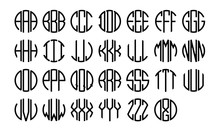 Circle Monogram Alphabet. Clip...