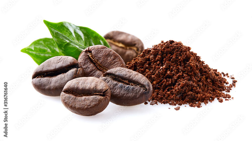 Fototapeta Coffee beans with leaf on white background