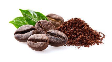 Coffee beans with leaf on white background