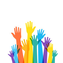 Colorfull Raised Hands Poster. Clipart Image Isolated On White Background