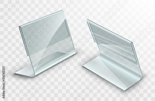 Acrylic table displays set, glass or plastic card holders isolated on transparent background Canvas Print