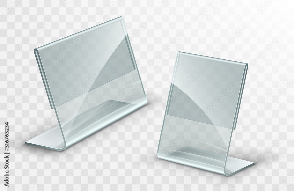 Fototapeta Vector acrylic table tent. Card holder isolated on transparent background. Empty flyer glass display.