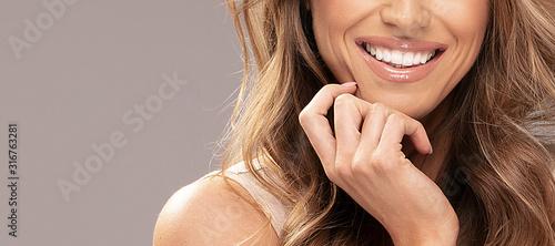 Fototapeta Beautiful smiling lips of woman. obraz