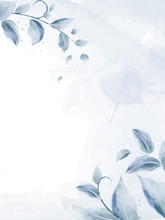 Watercolor Design With Blue Br...