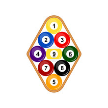 9 Ball Rack Icon. Clipart Image Isolated On White Background