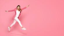 Crazy Girl Jumping In Studio.