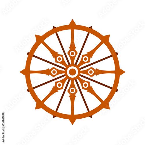 Konark wheel icon. Clipart image isolated on white background Fototapet