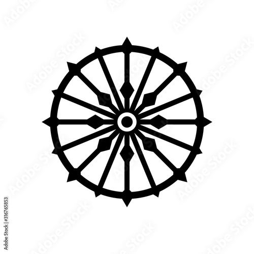 Fototapeta Konark wheel simple silhouette icon