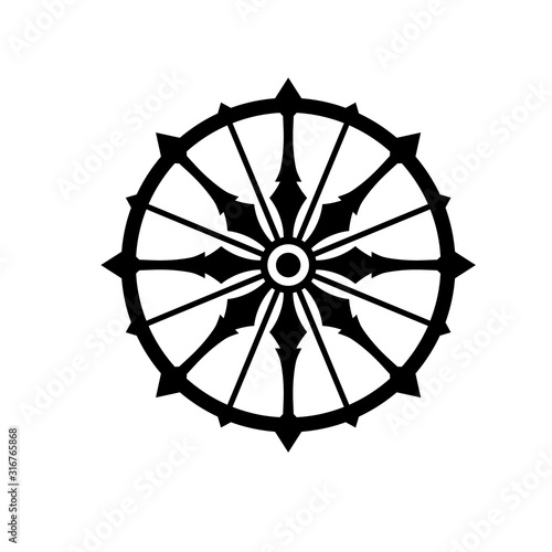 Obraz na plátně Konark wheel simple silhouette icon