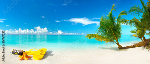 Obraz White sand beach, turquoise ocean, blue sky, clouds, palm tree over water, sunglasses, flip-flops and starfish. Maldives, perfect tropical landscape, ultra wide format, concept of summer vacation. - fototapety do salonu