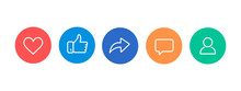 Like, Thumb Up, Repost, Comments, Subscribers Thin Line Icons.