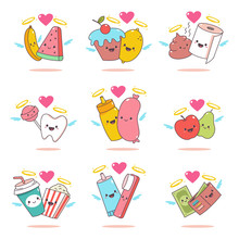 Funny Couples In Love With A Nimbus And Angel Wings. Cute Characters For Valentine's Day Vector Cartoon Set Isolated On White Background.