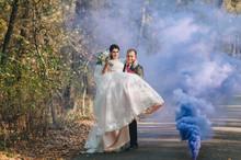 Happy Newlyweds Swirl And Danc...