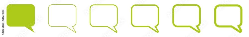 Fototapeta Speech Bubble Balloon Icon green | Blank Rectangle Rounded Bubbles | Communication Symbol | Message Logo | Cartoon Sign | Isolated | Variations