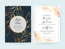 Set Of Cards With Line Art Floral Decoration. Navy Blue Wedding Invitation Template Design Of Luxury Gold Leaves. Botanic Illustration For Save The Date, Event, Cover, Poster Vector