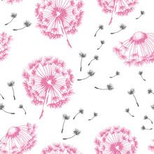 Dandelion Blowing Hand Drawn Vector Seamless Pattern