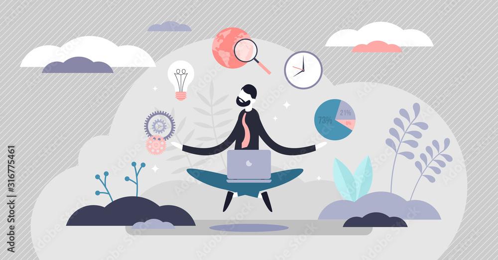 Fototapeta Business internet guru concept, work stress balance and financial freedom