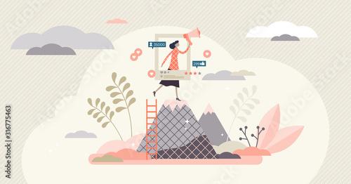 Ambassador program marketing campaign social media activity tiny person concept Canvas Print
