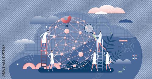 Fototapeta AI network machine learning developers, flat tiny persons concept vector illustration obraz