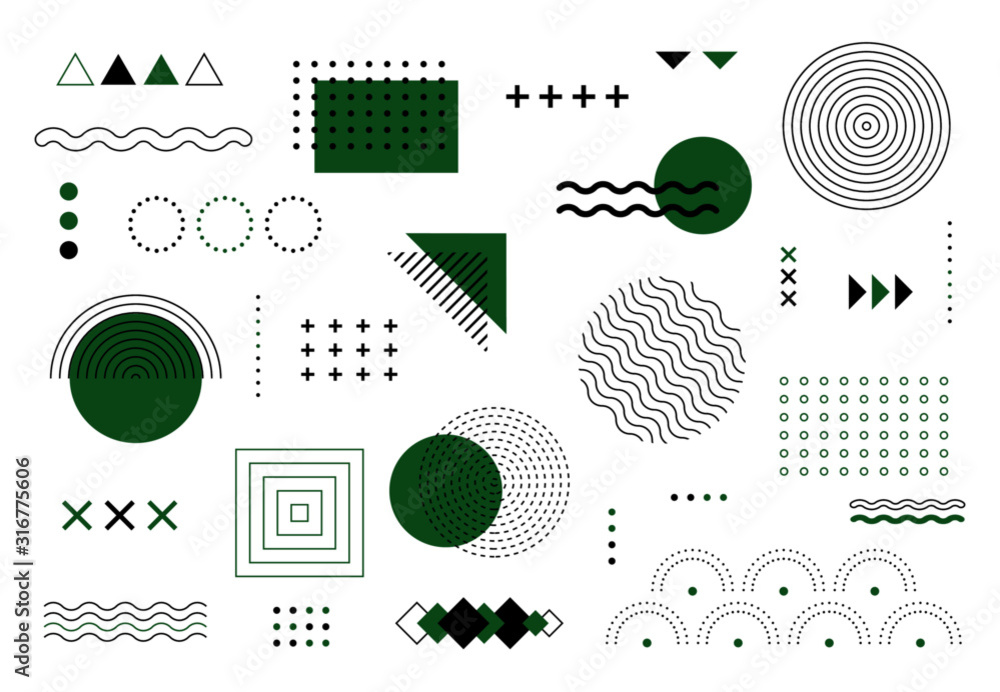 Abstract geometric elements memphis design. Vector green and black minimal shapes for modern cover design. Set of funky bold constructivism graphics for posters